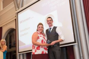 Jonathan Lawton accepting the award from award sponsor Mviron (Sarah White).